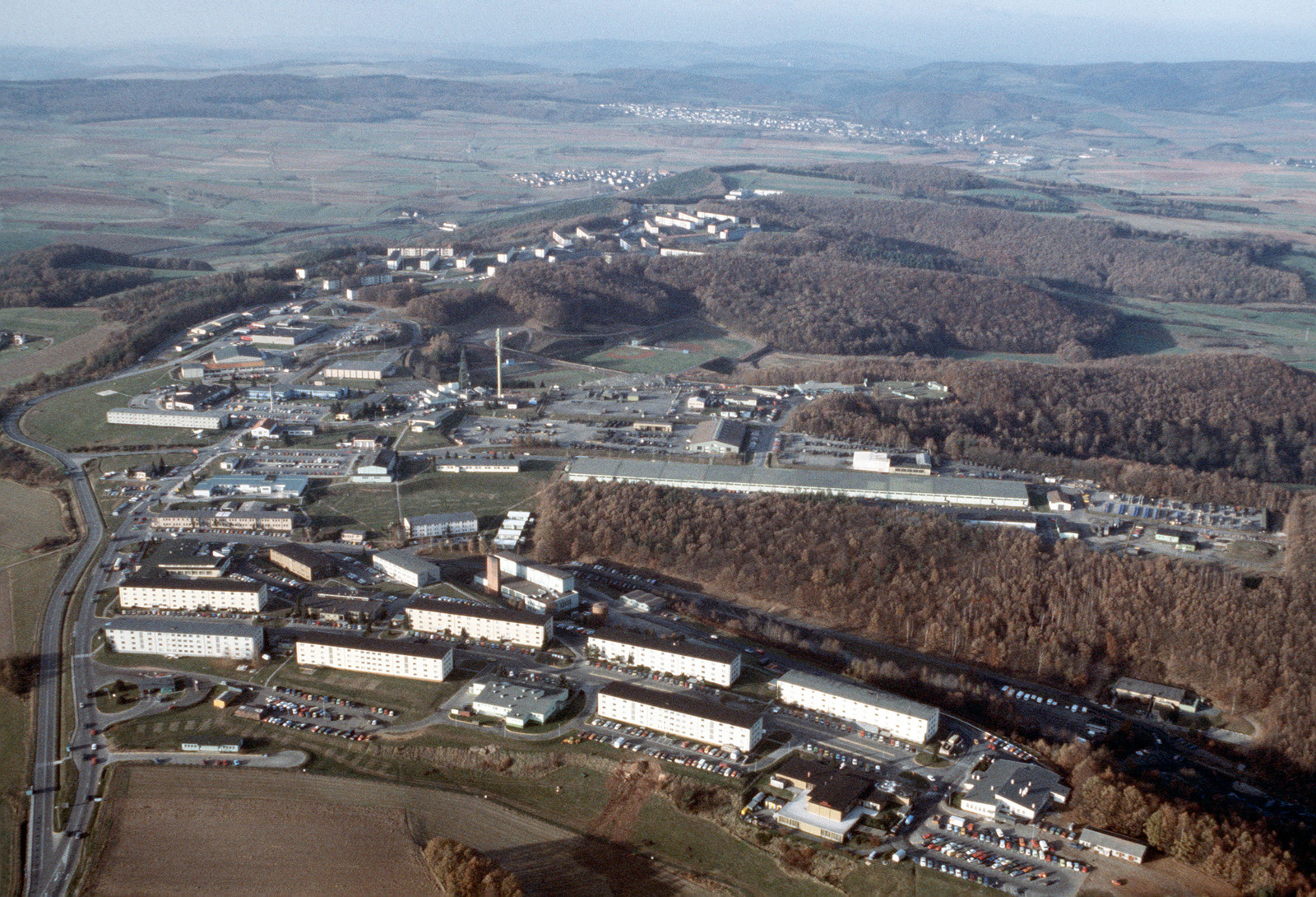An aerial view of Sembach Air Base. The new communications tower is visible near the center of the photograph
