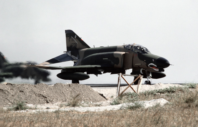 F-4 Phantom II aircraft taxi from the flight line for takeoff, during a tactical large force employment exercise. They are assigned to the 3rd Tactical Fighter Wing