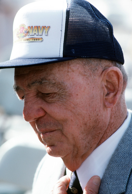 M. L. Leslie attends the commissioning ceremony for the guided missile frigate USS MCCLUSKY (FFG 41). Leslie fought at the battle of Midway with the ship's namesake, Rear Admiral Clarence W. McClusky