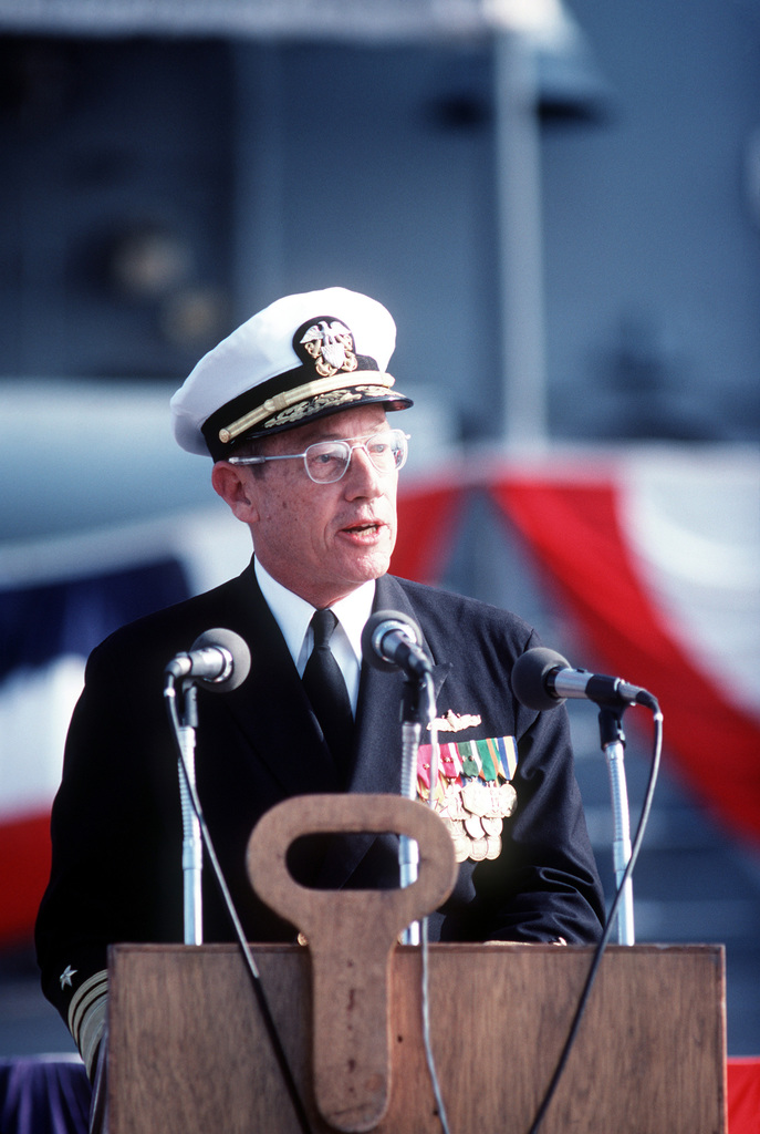 Vice Admiral Lee Baggett Jr., director, Naval Warfare, Office of the CHIEF of Naval Operations, speaks during the commissioning ceremony for the guided missile frigate USS MCCLUSKY (FFG 41)