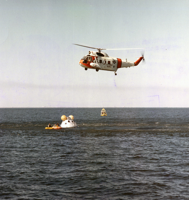 Photograph of a Member of the Apollo 8 Prime Crew Being Hoisted Up to a U.S. Coast Guard Helicopter during Water Egress Training