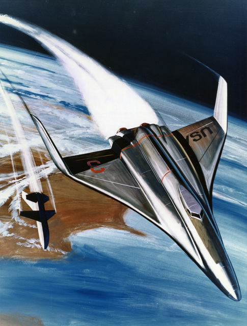 Photograph of an Artist's Concept of a Sleek Space Shuttle Craft
