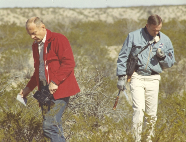 Photograph of Neil Armstrong and Buzz Aldrin during Geological Training in the Quitman Mountain Area