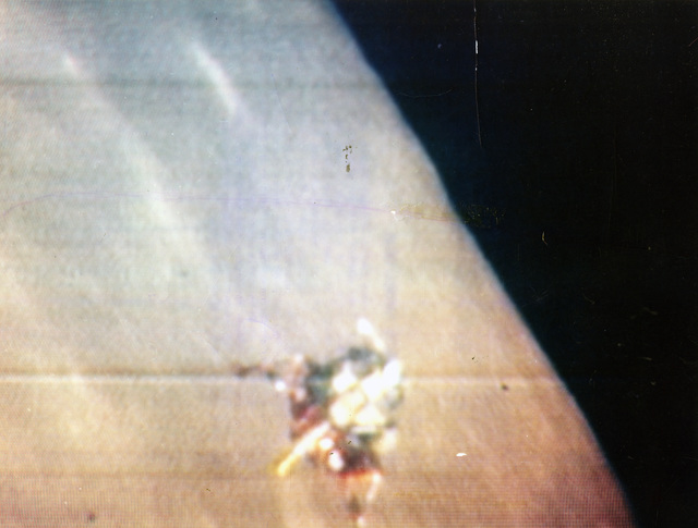 Photograph of the Apollo 12 Lunar Module Descending Towards the Lunar Surface