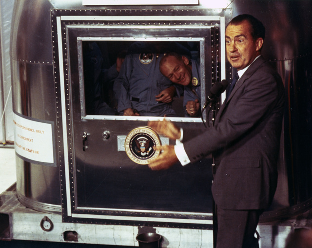 Photographs of President Richard Nixon Greeting the Apollo 11 Astronauts on the USS Hornet