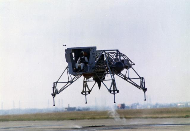 Photographs of the Luar Landing Training Vehicle (LLTV), Piloted by Astronaut Alan B. Shepard Jr., Begins a Test Flight