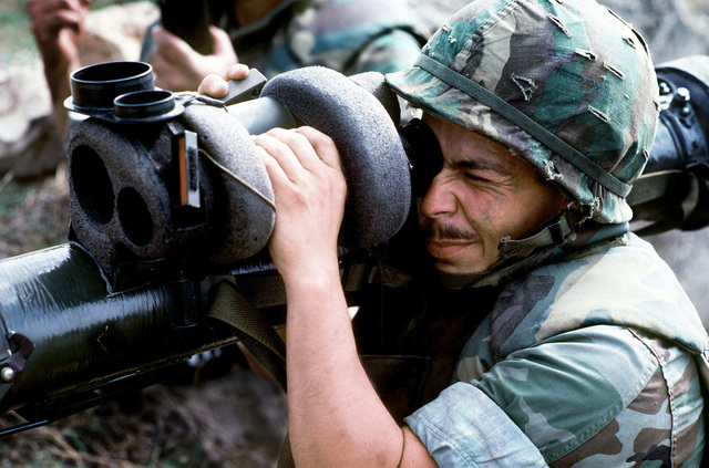 A marine aims an M47 Dragon anti-tank weapon while participating in an assault during the joint service Exercise OCEAN VENTURE '84