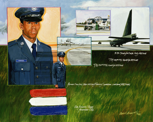 "Artwork: ""AIRMAN Crawford"" Artist: Darrell Mayabb, USAF Art Collection"