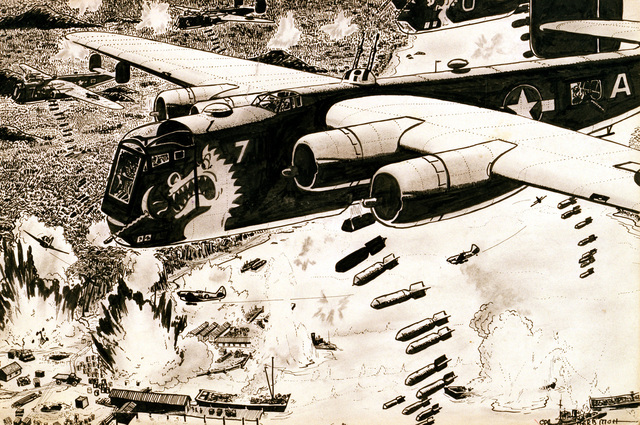 "Artwork: ""American Liberators and Warhawks Bomb Jap Supply"", ink, 10""x 15"". Artist: Herb Mott. Catalog Number: D.21.9.46. US Army Art Collection"