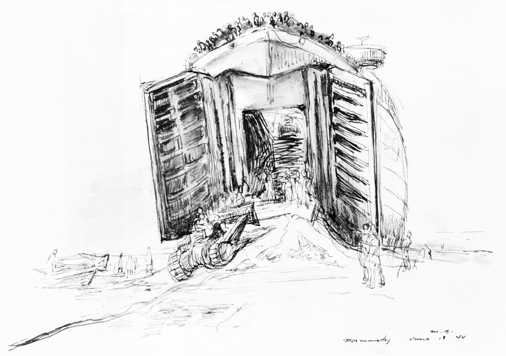 """Artwork: """"An LST Grounded on Omaha Beach"""", Normandy, France, 1944, ink, 7-1/4"""" X 10"""". Artist: Manuel Bromberg. Catalog Number: D.4.234.46. US Army Art Collection"""