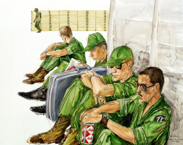 """Artwork: """"Artillerymen From B Battery, 6/27th, Waiting for a Plane to Song Be at Bien Hoa AFB in October 1969"""" Artist: George Clark, USAF Art Collection"""