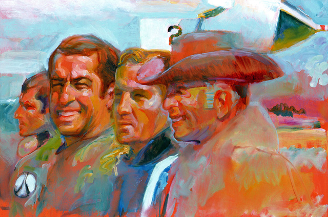"Artwork: ""B-1 Bomber, Part of Crew, and Man from Boeing (Cowboy Hat) at Edwards AFB, May 1983"" Artist: Pat Dalton, US Air Force Air Collection"