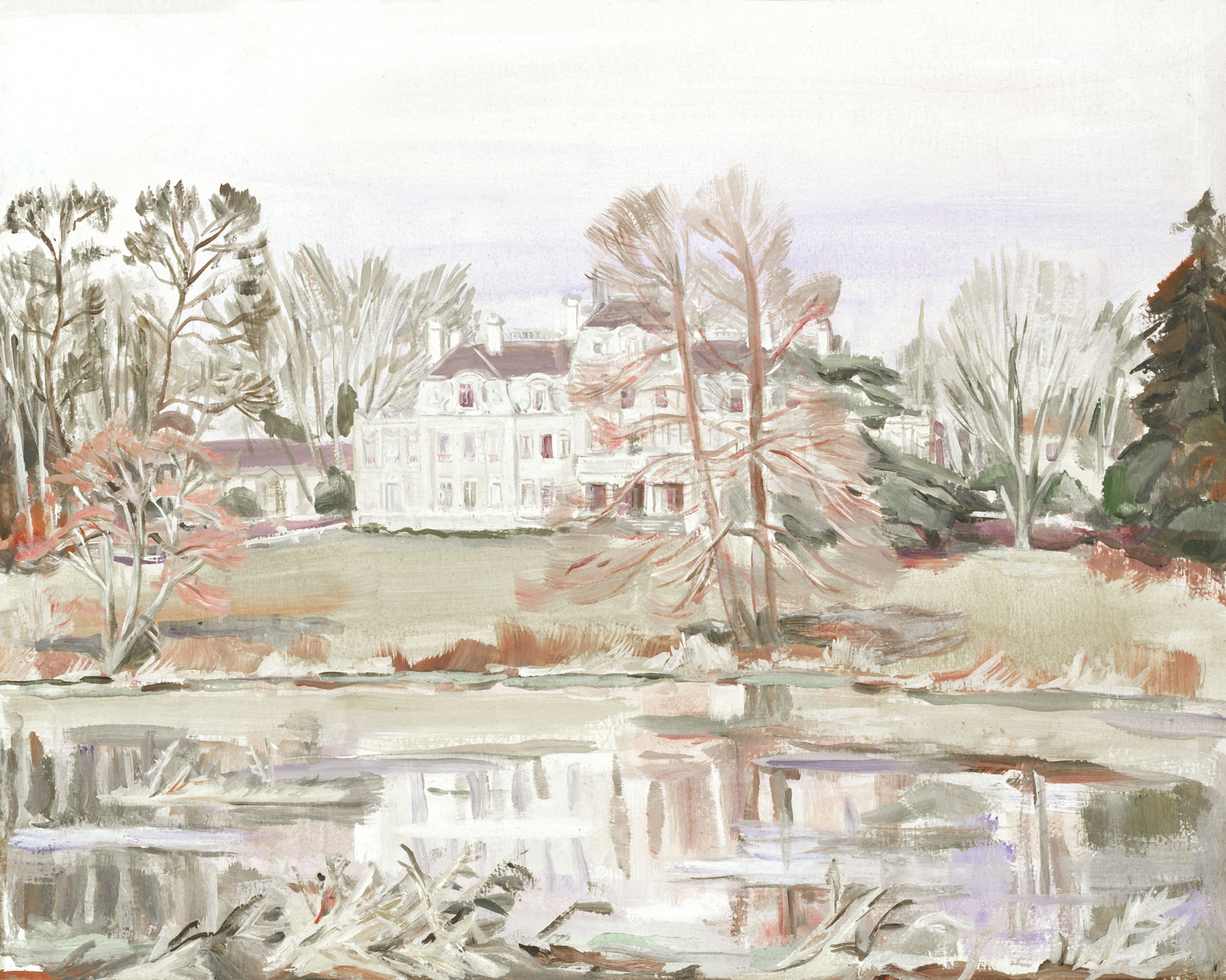 "Artwork: ""Chateau Bourpant Near Bordeaux,"" France, 1943. Artist: Unknown. Catalog Number: G.O.1.8011.47. US Army Art Collection"