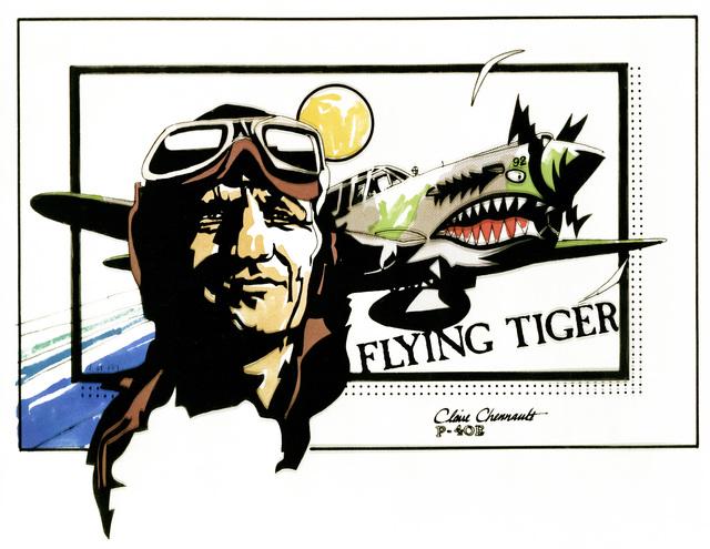 """Artwork: """"Claire Chennault Flying Tiger P-40"""" Artist: Darrell Lum"""