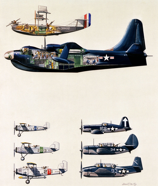 "Artwork: ""Development of Navy Aircraft: F-5L to Martin Bomber"". Artist: John McCoy, US Air Force Art Collection"