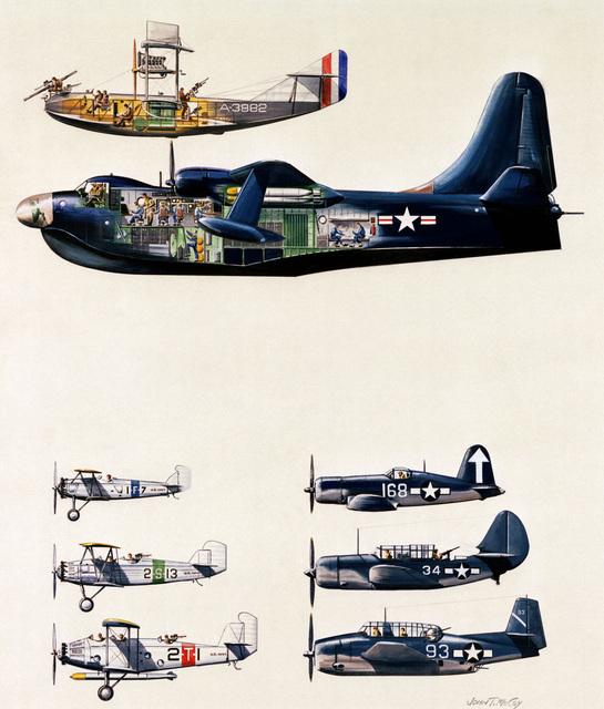 "Artwork: ""Development of Navy Aircraft: F-5L to Martin Bomber"". Artist: John McCoy, US Air Force Art Collection"