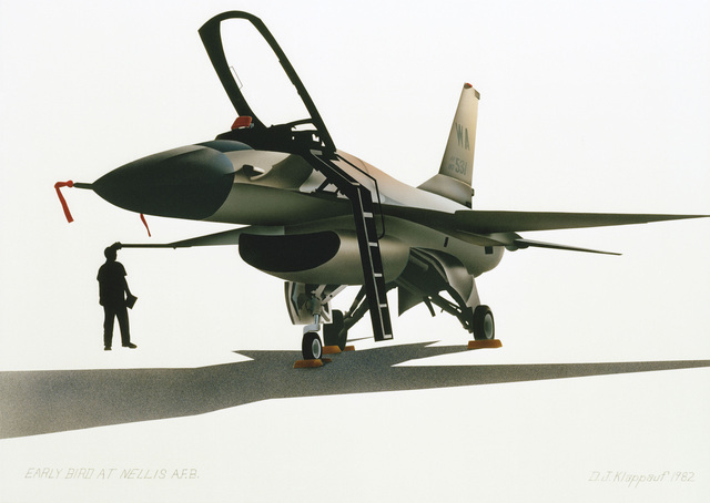 "Artwork: ""Early Bird at Nellis AFB"" Artist: Don Klappauf, US Air Force Art Collection"