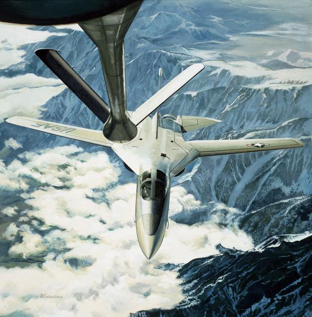 """Artwork: """"F-111A Refuel"""" Artist: Walter Koerschner, USAF Art Collection"""