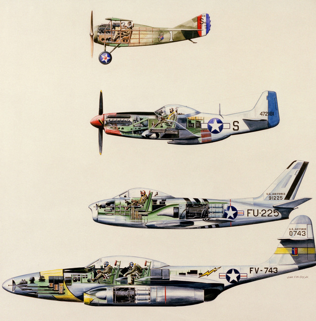 "Artwork: ""Fighters: Spads to Jets"". Artist: John McCoy. US Air Force Art Collection (COPYRIGHTED)"