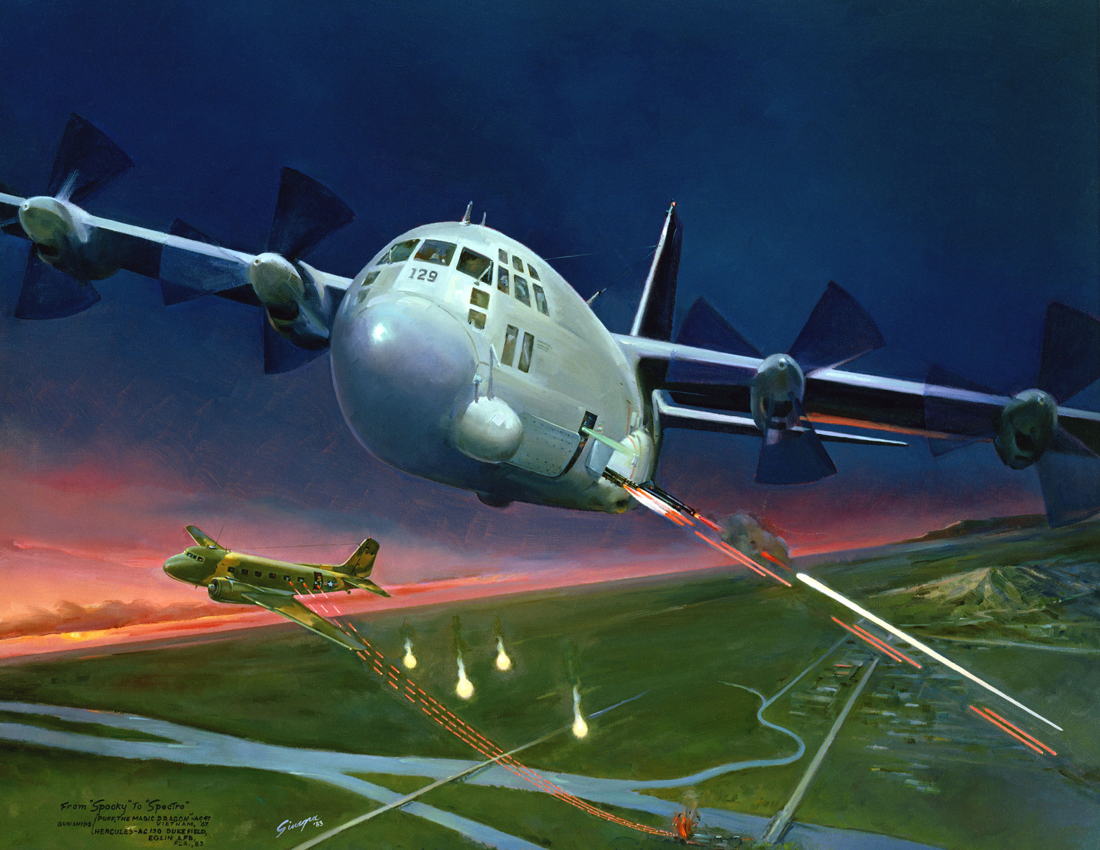 """Artwork: """"From Spooky to Spectre"""" Artist: Attilio Sinagra, USAF Art Collection"""
