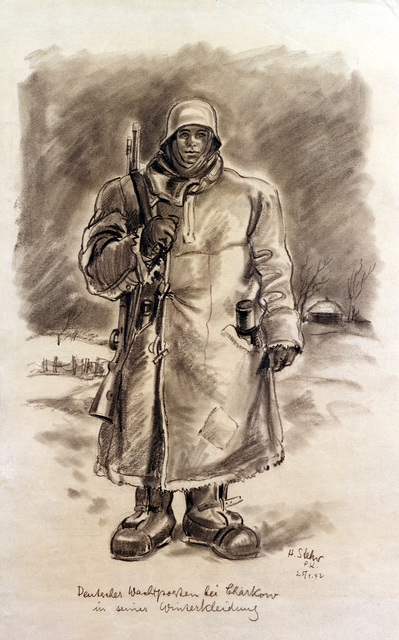 """Artwork: """"German Infantrymen in Winter Clothes,"""" 1942. Artist: H. Stehr. Catalog Number: G.D.I.7482.47. US Army Art Collection"""