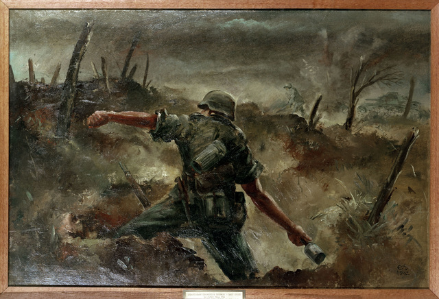 "Artwork: ""Infantryman Throwing a Grenade,"" 1942. Artist: Peter Paul Etz. Catalog Number: G.O.1.1723.47. US Army Art Collection"