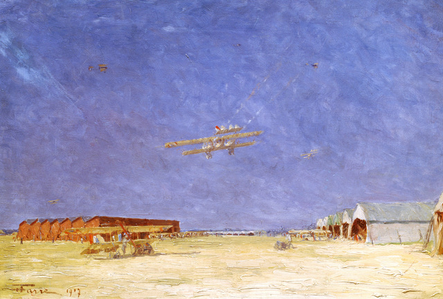 """Artwork: """"Lafayette Escadrille Nieuports Taking Off at Dawn"""" Artist: Henry Farre, US Air Force Air Collection"""