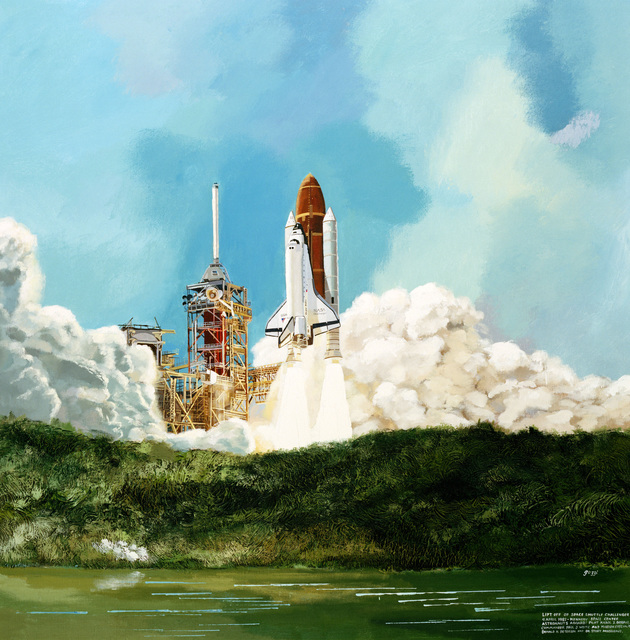 "Artwork: ""Liftoff of Space Shuttle Challenger"" Artist: George Guzzi, USAF Art Collection"