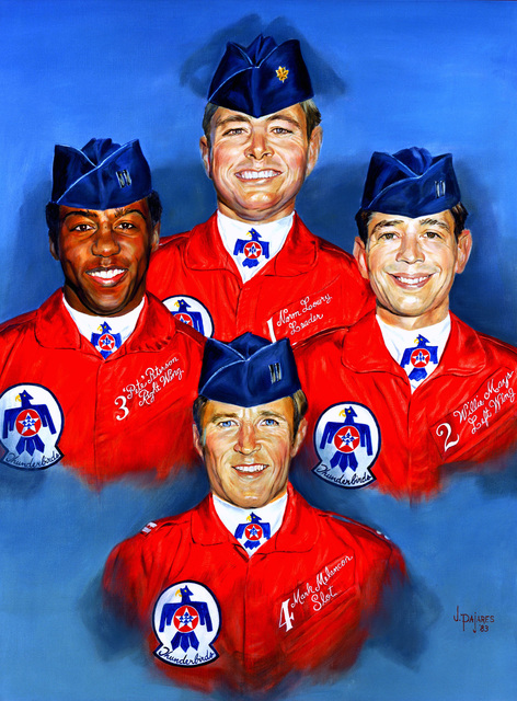 "Artwork: ""Memorial Portrait - Four Thunderbirds: Major Norm Lowry, CAPT. ""Pete"" Peterson, CAPT. ""Willie"" Mays, and CAPT. Mark Melancon"" Artist: Jeanette Pajares, US Air Force Air Collection"