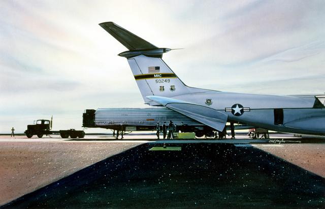 "Artwork: ""Minuteman ICBM Being Loaded Into a C-141, Vandenberg AFB""Artist: Winston Taylor"
