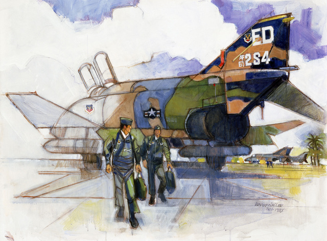 "Artwork: ""Phantom on the Flight Line"" Artist: Warren Lee, USAF Art Collection"