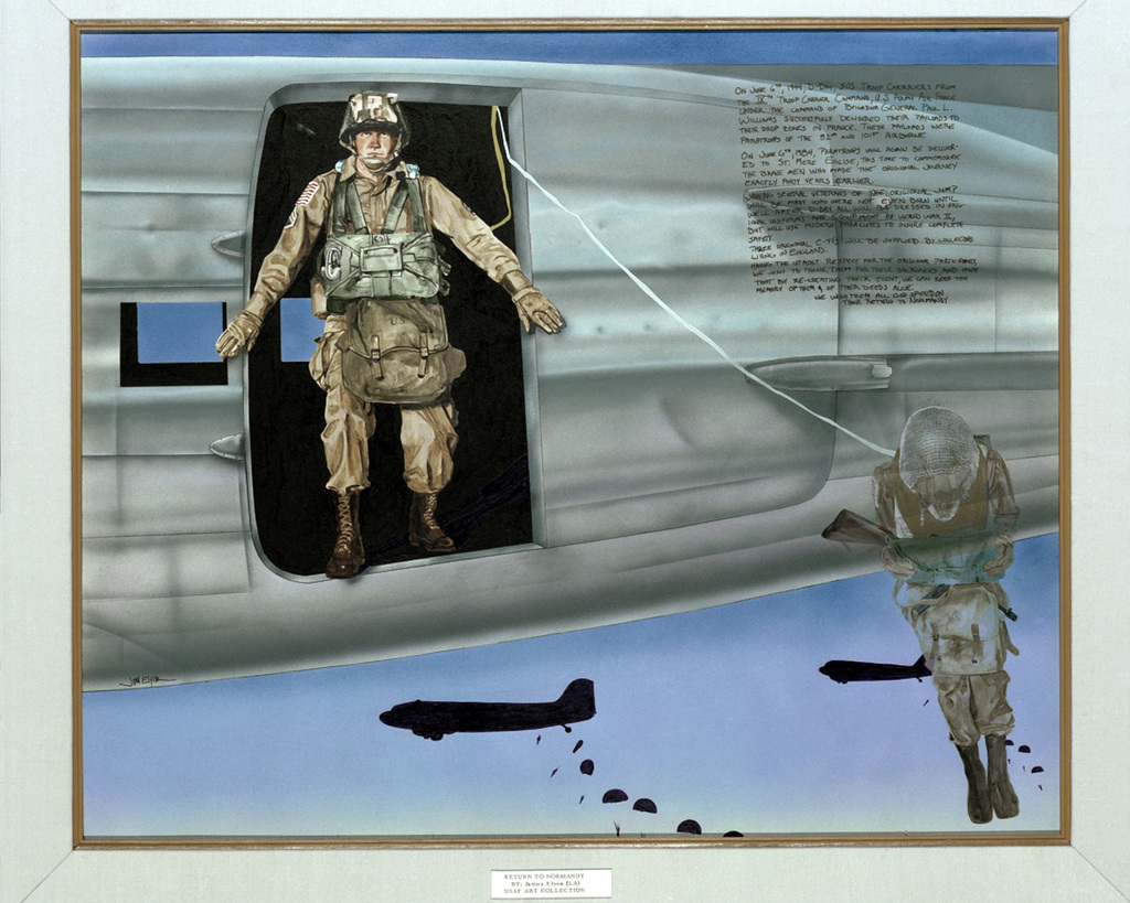 """Artwork: """"Return to Normandy"""". Artist: James Elyea, US Air Force Art Collection"""