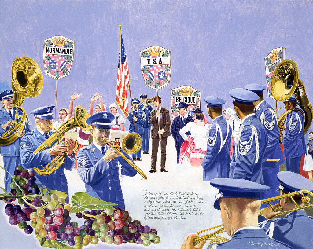 """Artwork: """"The 17th U.S. Air Force Band at Folkloric Festival in Dijon, France 1966, #2"""" Artist: Walter Hortons, USAF Art Collection"""
