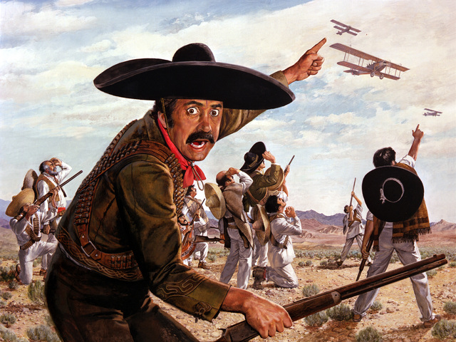 "Artwork: ""Yanqui Go Home - Pancho Villa Guerillas See Their First Airplane""- Artist: Ren Wicks"