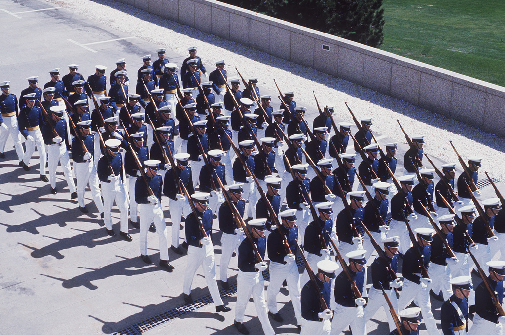 Cadets march in the Cadet Parade at the US Air Force Academy