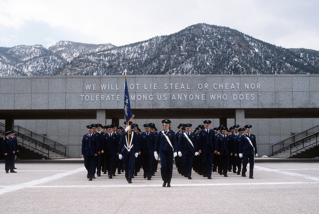 Cadets march on the terrazzo during a parade at the U.S. Air Force Academy