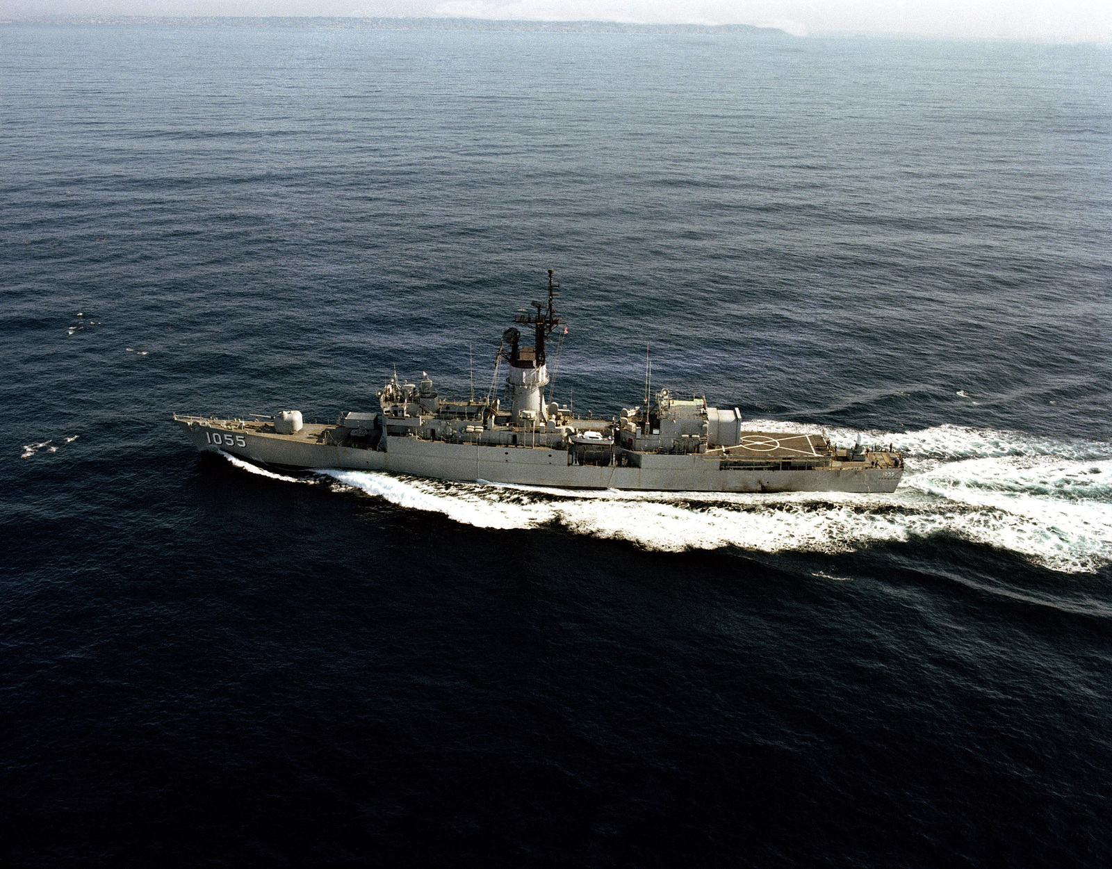 Aerial port beam view of the frigate USS HEPBURN (FF 1055) underway