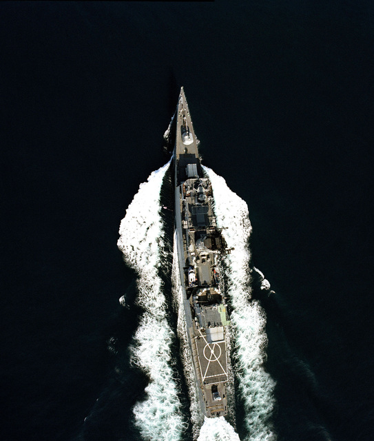 Vertical view of the frigate USS HEPBURN (FF 1055) underway