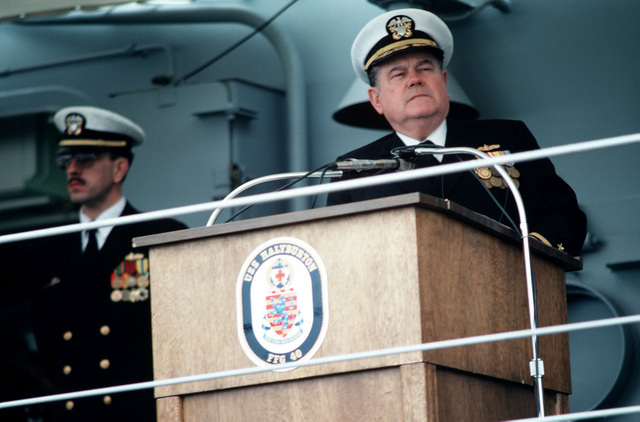 Rear Admiral Wayne E. Meyer, deputy commander, Naval Sea Systems Command, speaks during the commissioning ceremony for the guided missile frigate USS HALYBURTON (FFG 40) at Todd Pacific Shipyard