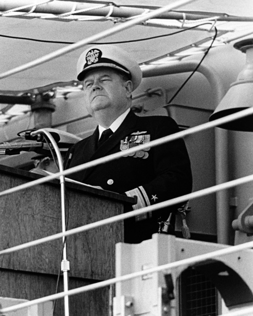 Rear Admiral Wayne E. Meyer, Deputy Commander, Naval Sea Systems for Weapons and Combat Systems, speaks during the ship's commissioning ceremony for the guided missile frigate USS HALYBURTON (FFG 40)