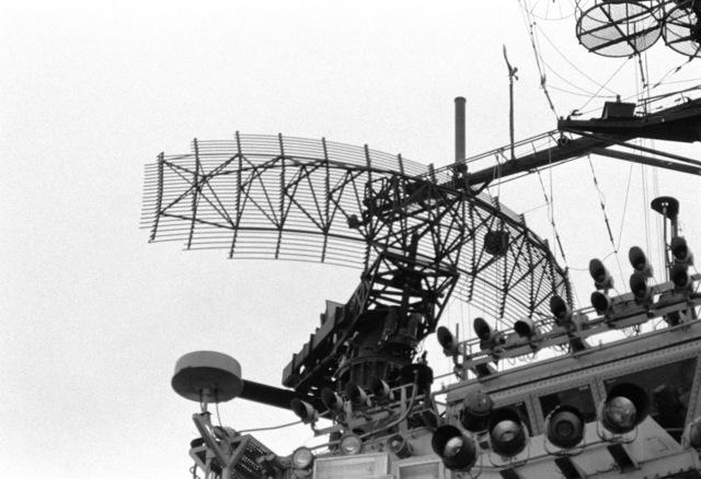 A view of the SPS-10F radar aboard the aircraft carrier USS AMERICA (CV 66). (Substandard image)