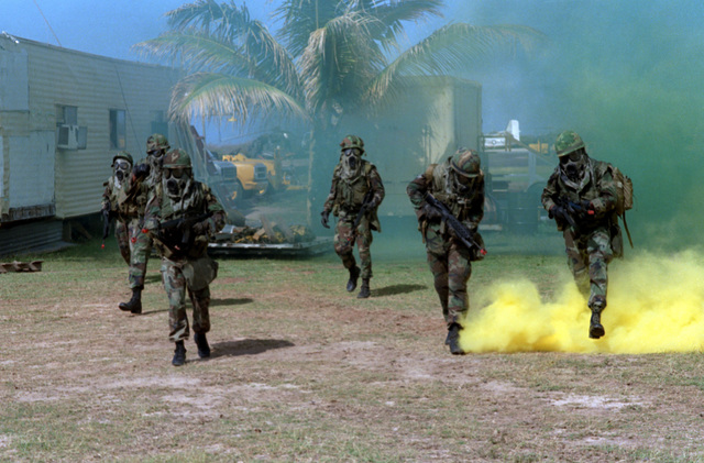 Members of Company A, Battalion Landing Team 1/3, wear nuclear-biological-chemical (NBC) protective face masks as they approach their final objective during a mock assault conducted as part of Operation KERNAL BLITZ
