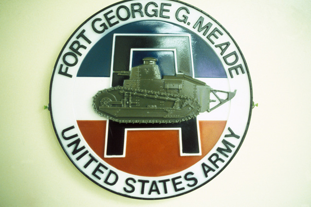 The official emblem for Fort George G. Meade, US Army, the site of Exercise ORBIT SUNSET. Exercise ORBIT SUNSET is designed to test Fort Meade's special threat operations plan (SPECTO), the counterterrorism plan for the base
