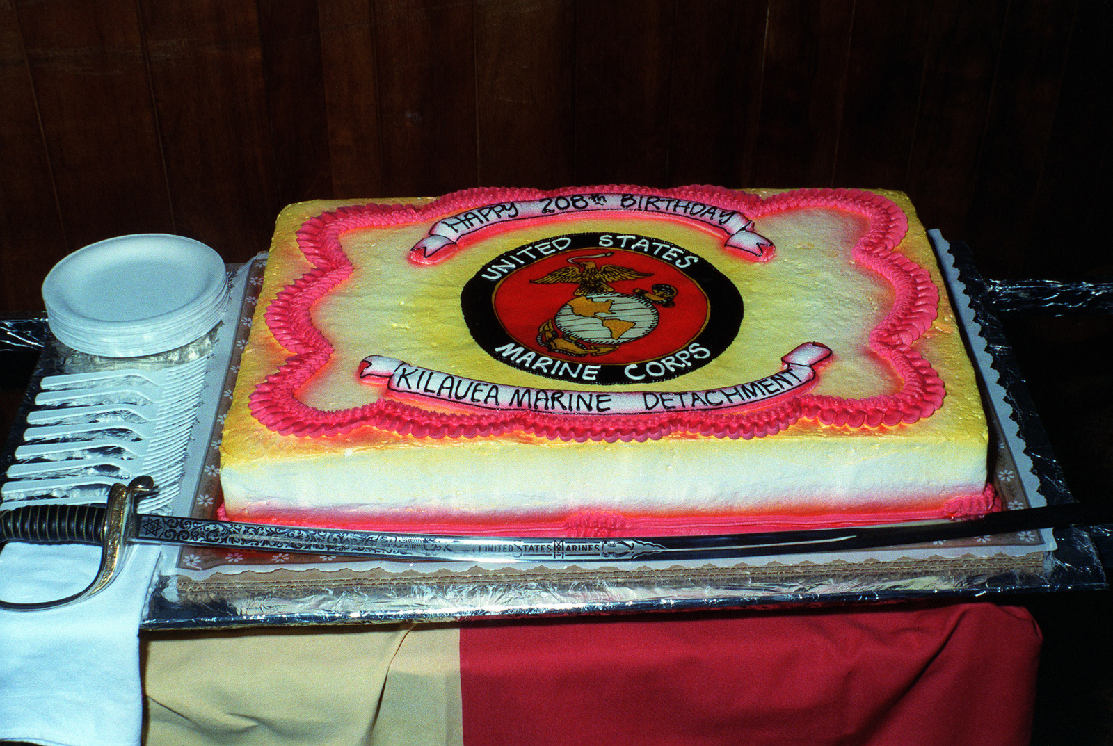 Fine A View Of The Marine Corps 208Th Birthday Cake During A Personalised Birthday Cards Paralily Jamesorg