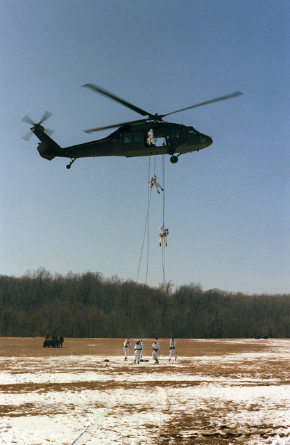 Members of the 4/187th Infantry Battalion rappel from a hovering UH-60 Black Hawk helicopter during a demonstration for the Association of the US Army (AUSA)