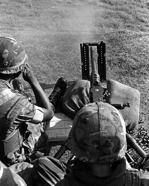 Students at the Small Unit Leadership Course fire an M-2 .50-caliber machine gun during their training