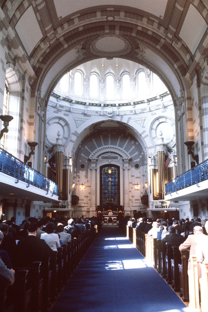 Worshippers attend services at the United States Naval Academy Chapel