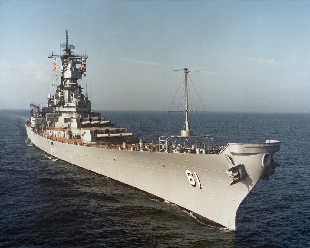 A starboard bow view of the battleship USS IOWA (BB 61) underway during sea trials off the coast of Mississippi. The battleship is scheduled to be recommissioned into the fleet on April 28, 1984, after completion of modernization/reactivation construction at Ingalls Shipbuilding, Pascagoula, Mississippi
