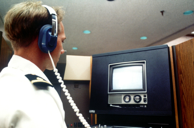 A student uses audiovisual equipment in the learning resources at the Uniformed Services University of the Health Sciences