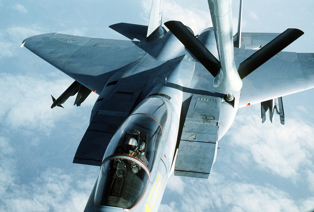 An air-to-air view from the boom operator's window of a 12th Tactical Fighter Squadron F-15 Eagle aircraft refueling during the joint U.S./South Korean Exercise Team Spirit '84
